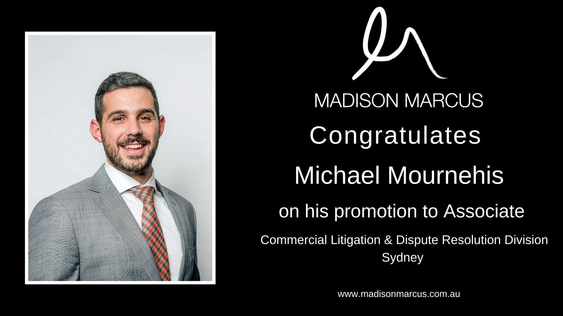 Madison Marcus promotes Michael Mournehis to Associate