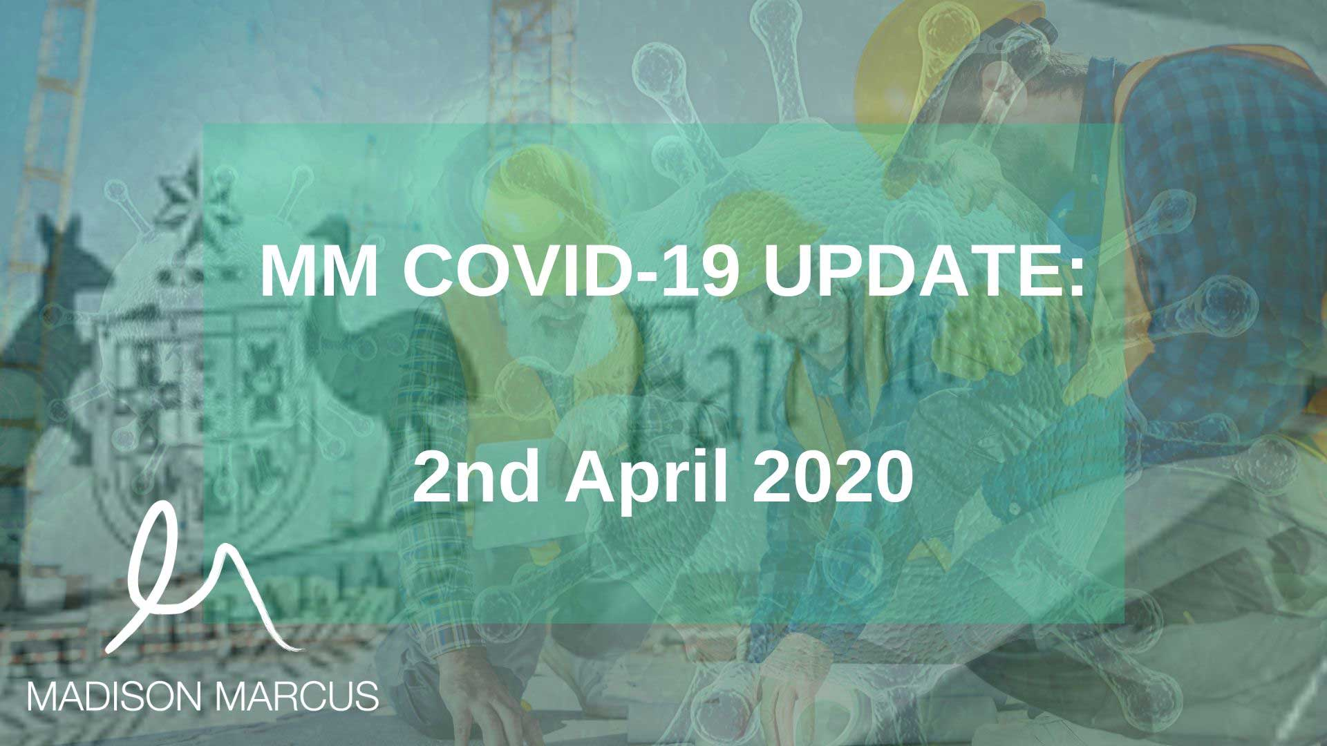 COVID-19 Crisis – 2 April Summary: Some good news for NSW Developers, Builders & Contractors and Federal Industrial and Workplace Relations Changes